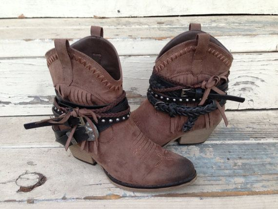 Belted FRINGE western cowboy ankle BOOTS custom made by LENGO28, $52.00