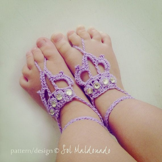 Barefoot Sandals Crochet Pattern Crown Baby Toddler By Bysol