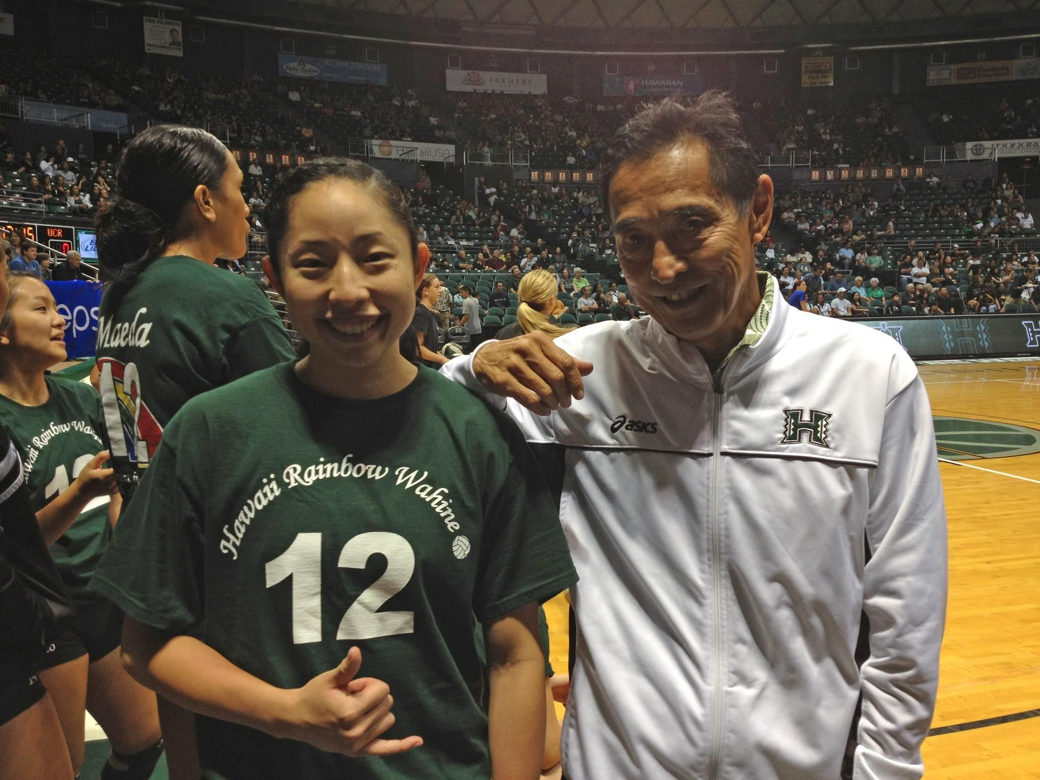 Emily Maeda With Dave Shoji Senior Night University Of Hawaii Senior Night University