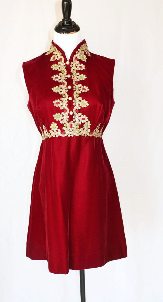 Vintage 50s Red Velvet Dress by vintagedivineshop on Etsy, $95.00