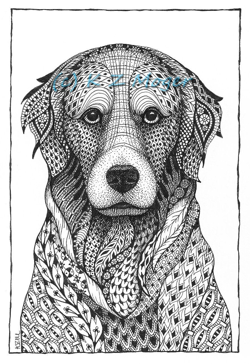Ausmalbilder Hunde Golden Retriever : Golden Retriever Dog Zentangle Stylized Head Freehand Pencil Hand