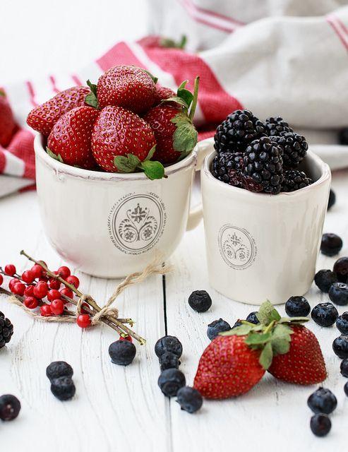 Happy Valentine's Day. : ) Fresh berries for breakfast by Julia Khusainova.