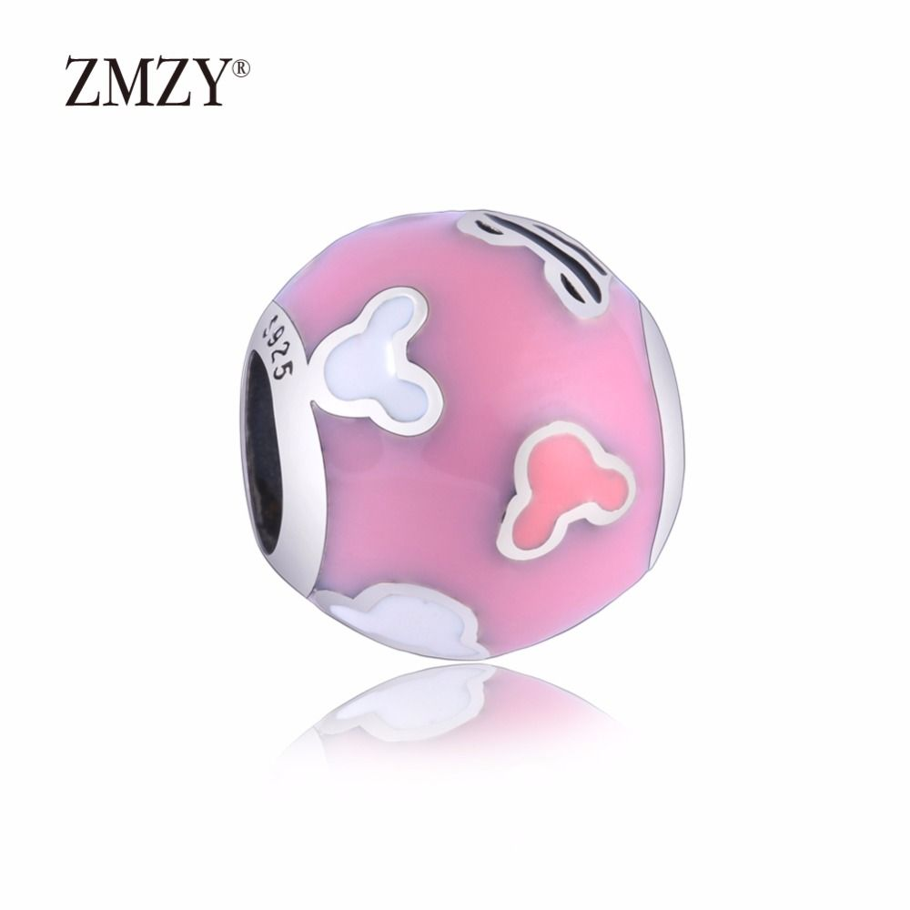 Zmzy authentic sterling silver charms mikey pink enamel beads
