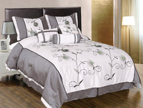Gray And Green Bedding The 7 Pieces White With Grey Embroidered Lily Comforter Set