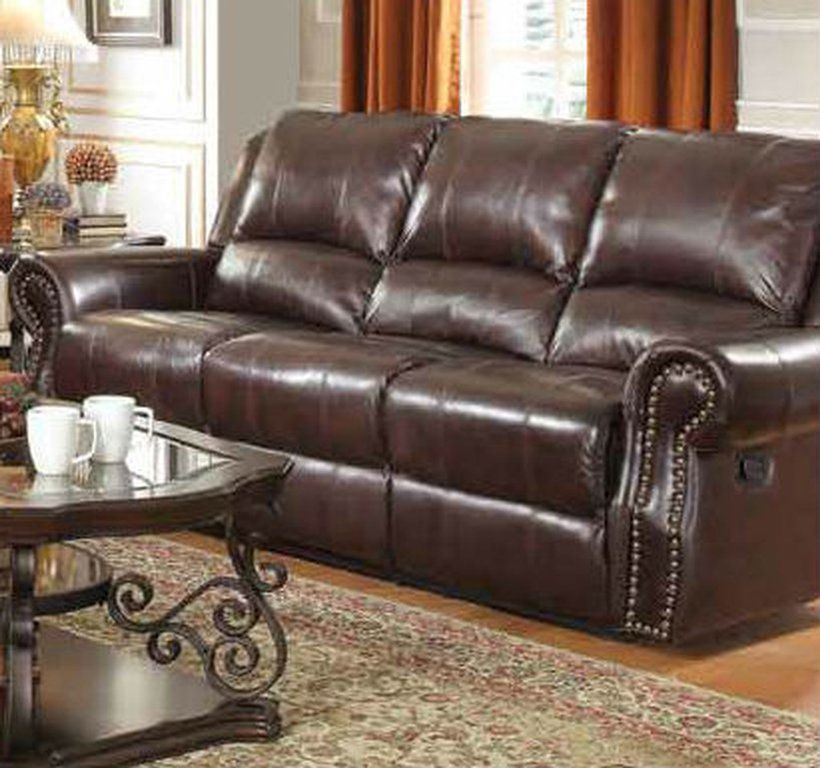 Leather Reclining Sofa Nailhead Trim
