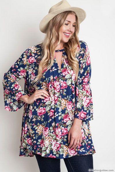 18a387e3da32f PLUS SIZE Floral Print 3 4 Sleeve Trapeze Shirt Dress-Navy Blue ...