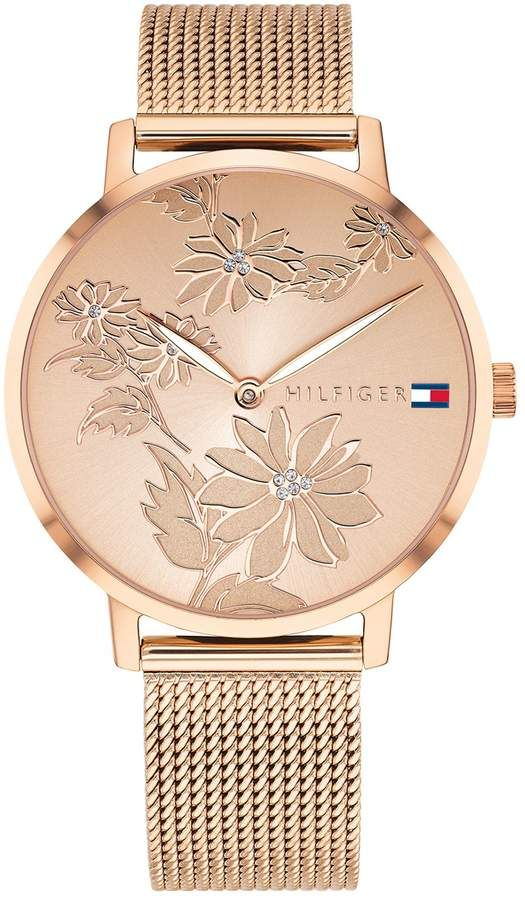 c73e5ae2f27e Tommy Hilfiger Rose Gold Floral Watch With Mesh Band