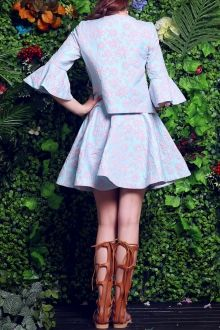Floral Embroidery Fitting Blouse and High Waist Skirt Suit