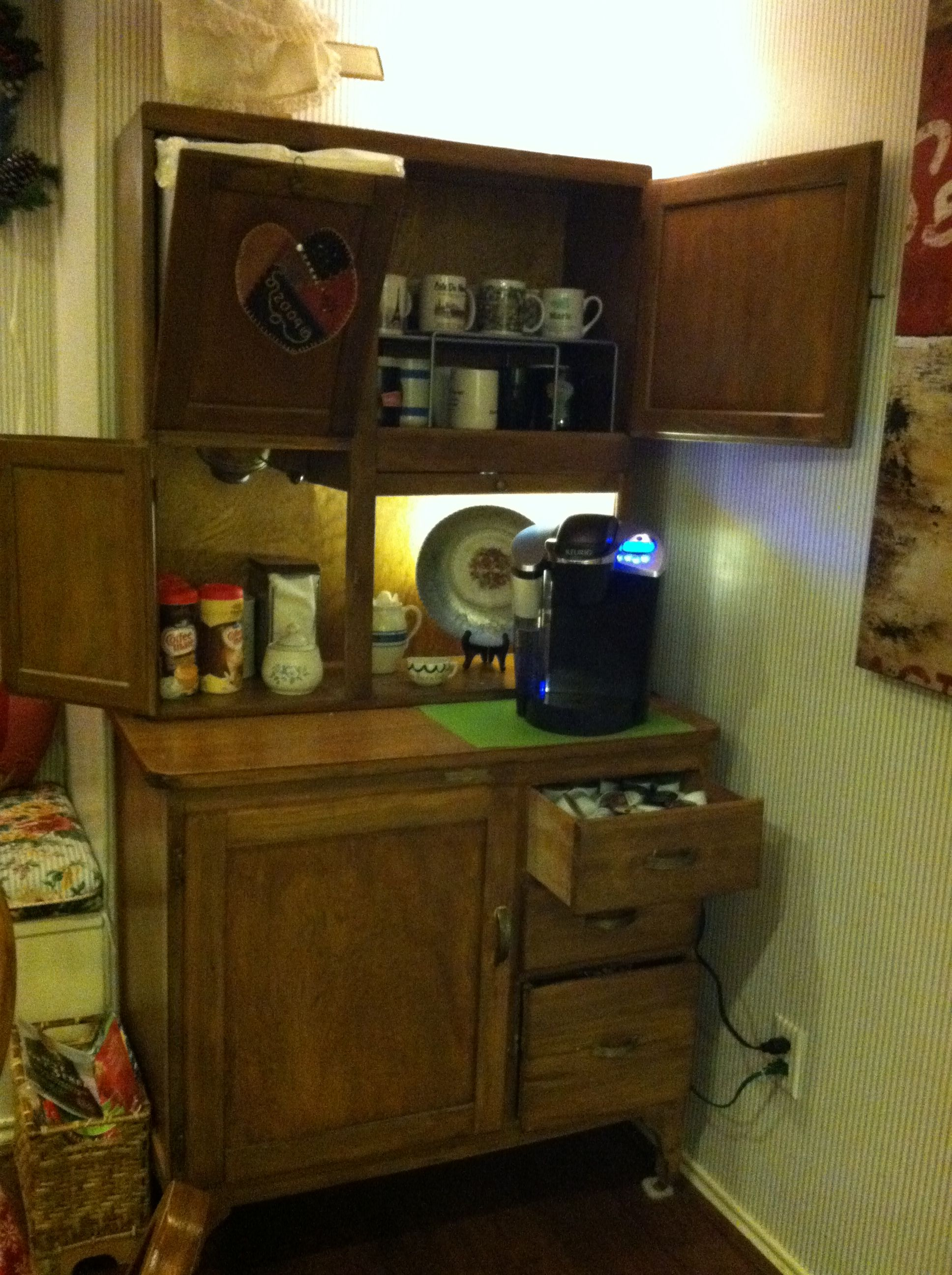 An Old Hoosier Cabinet Repurposed Into A Coffee Center The Flour Bin Is Now The Trash Bin Hoosier Cabinet Hoosier Cabinets Coffee Center