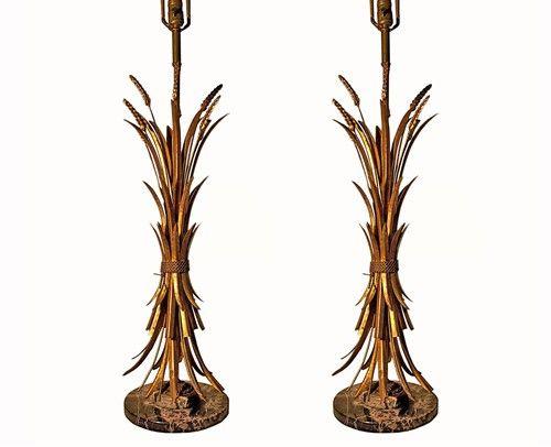 BRUNO VITERBO'S PICK - Pair of Italian Gilded White Motif table lamps - $1250.