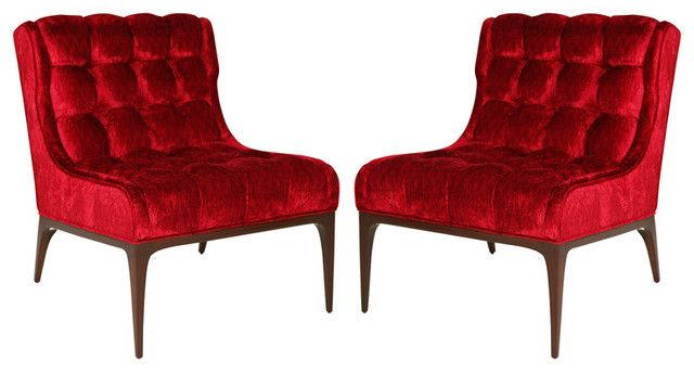 Bon ... At   Elegant Pair Of Biscuit And Button Tufted Slipper Chairs With Dark  Walnut Frames. These Chairs Newly Upholstered In Striking Red Versace Velvet  ...