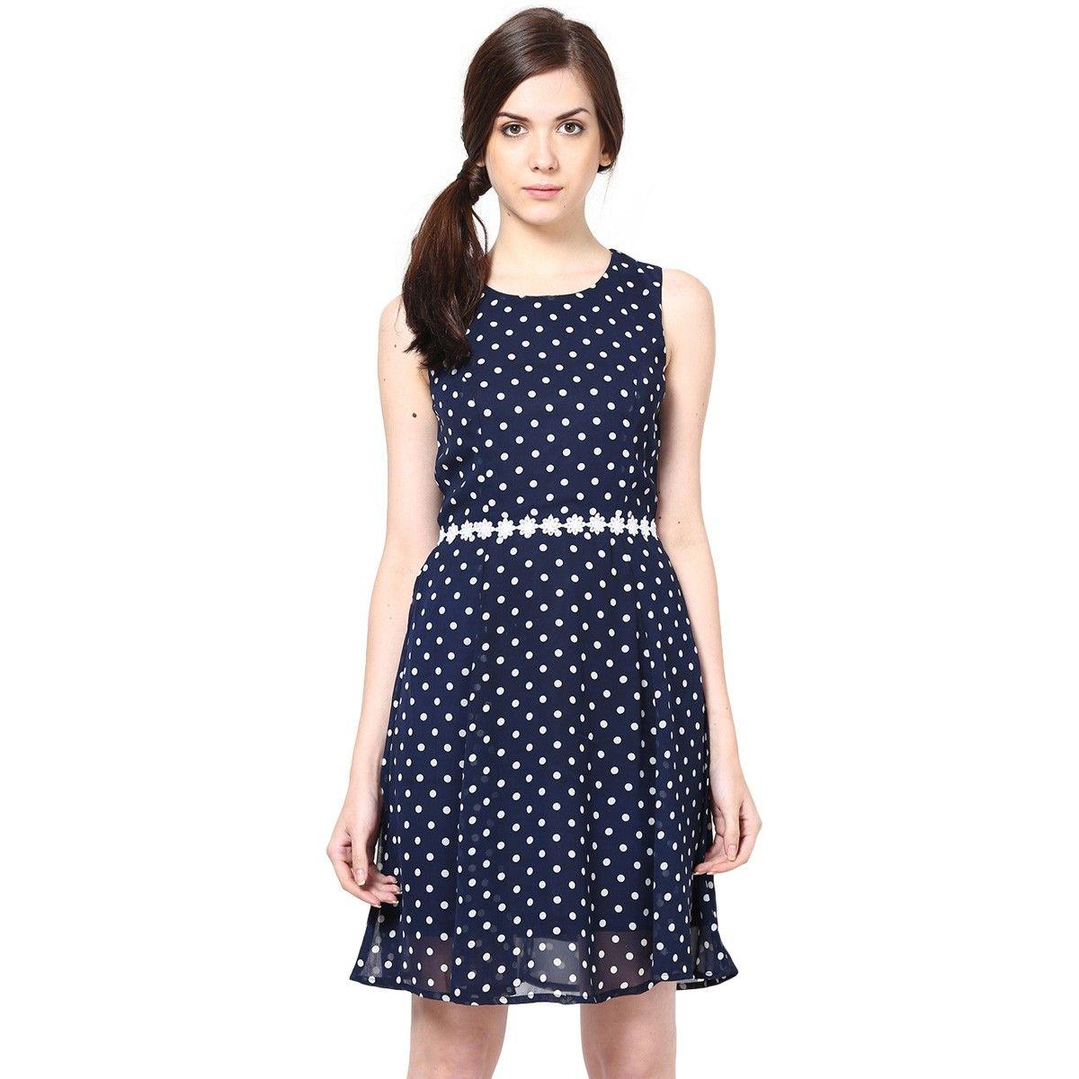 383e12b6a4c74 Georgette Navy Blue 401446 Polka Dot Print Skater Dress