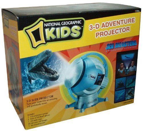 """National Geographic Kids 3-D Adventure Projector - Sea Monsters by National Geographic. $69.99. Includes : 3-D Projection System, 2 Pairs of 3-D Real Glasses, CD Audio Tour, 25 Full Color 3-D Images and Instructions. For age 8 and up. Requires 3 """"C"""" batteries ( Not included). Product Dimenstion : 8-1/2"""" W x 6"""" H x 8.5"""" L. National Geographic Kids 3-D Adventure Projector (Sea Monster - A Prehistoric Adventure) with 3-D Projection System, 2 Pairs of 3-D Real Glasses, CD Au..."""