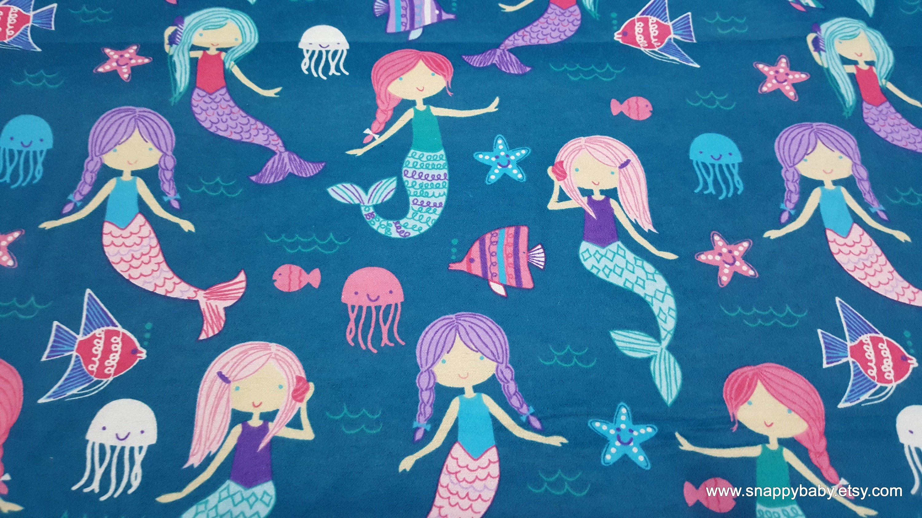 Flannel Fabric Mermaid Fun By The Yard 100 Cotton Flannel Flannel Fabric Mermaid Fabric Fabric Hearts