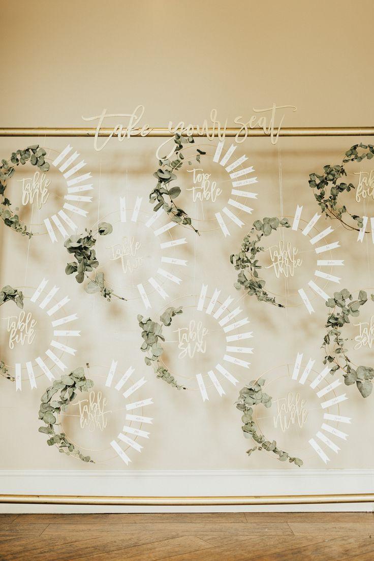 Sitzplan Tabelle Diagramm Hoop Wire Greenery Laub Stubton Hall Hochzeit Darina