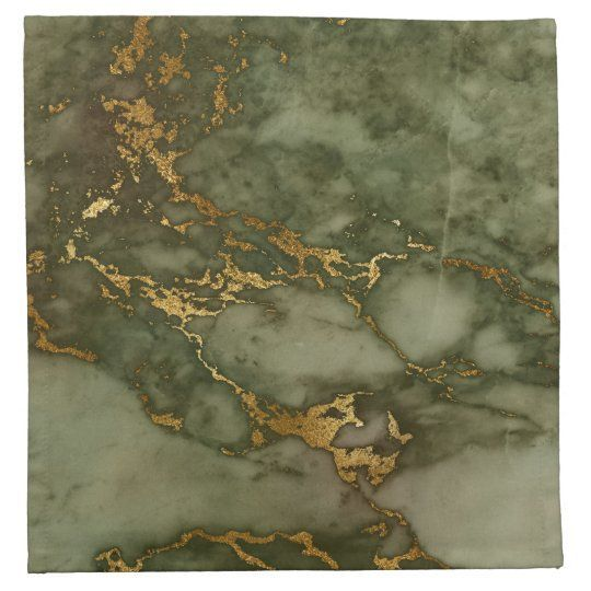 Luxury Olive Green and Gold Marble Cloth Napkin | Elegant olive green marble pattern napkin with faux gold foil veins.