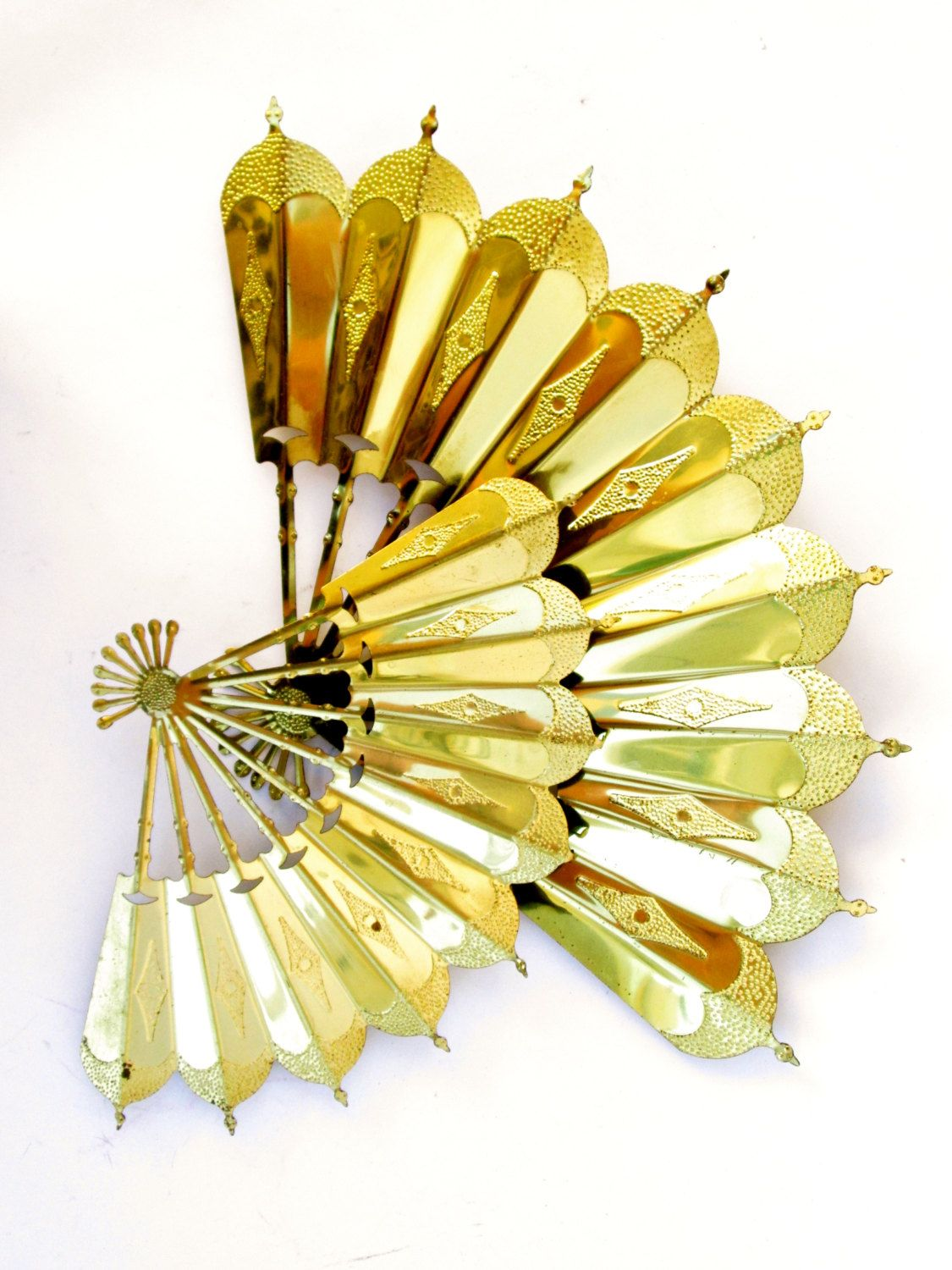 Pair of Vintage Gold Metal Asian Fans Chinoiserie Wall Decor || Mid ...