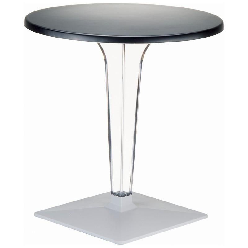Ice Werzalit Top Round Dining Table With Transparent Base 32 Inch Black Patio Dining Table Patio Bar Table Square Dining Tables