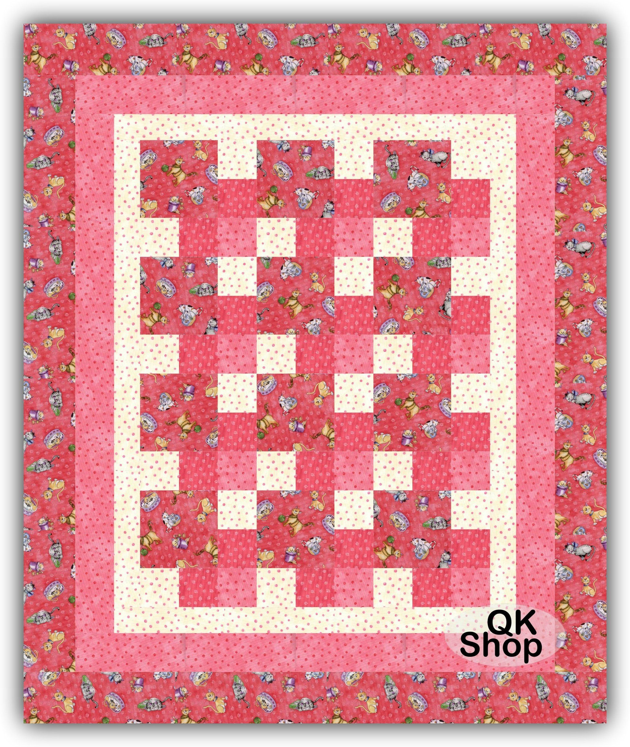 Cat Cats Pink Quilt Kit Quilt Kit Shop (With images