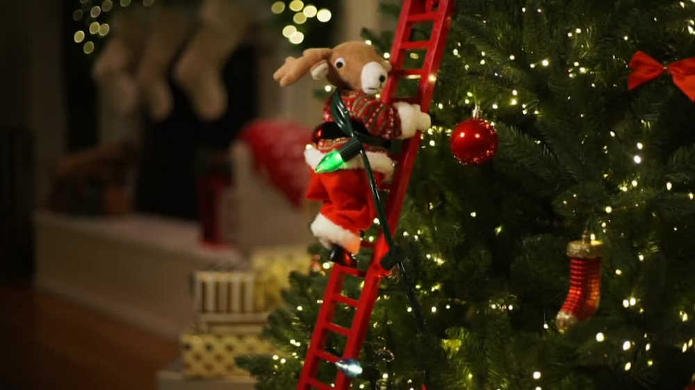 Mr Christmas Animated Climbing Holiday Character Qvc Com Climbing Holiday Mr Christmas Christmas