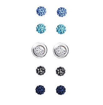 Napier® Silvertone Set Of Interchangeable Button Earrings