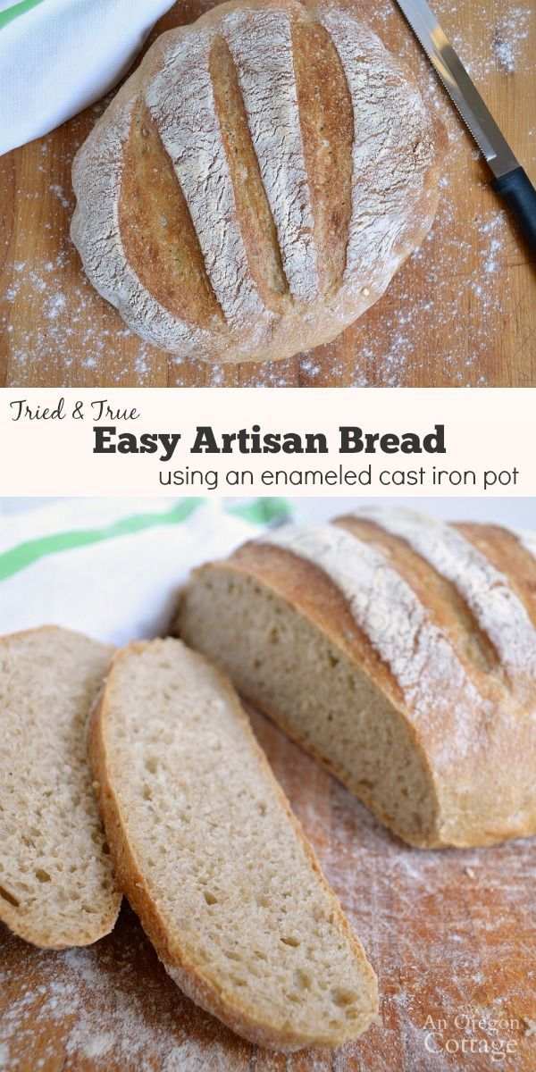 Easy Artisan Bread: The secret? Cook in an enameled cast iron pan for that great artisan crust at home! 4 simple ingredients make this a real food that's budget-friendly, too.