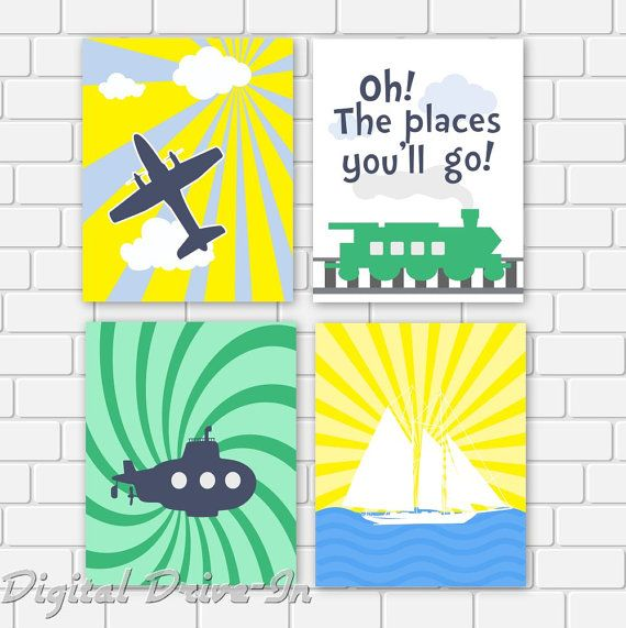 Nursery Printable Dr Seuss Quote Oh The Places You\'ll Go Plane Train ...