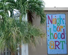 Neighborhood Art District sign  Map to ActivistArtistA Gallery and Studio  422 West Industrial Ave.,  Boynton Beach, FL 33426  786/ 521-1199