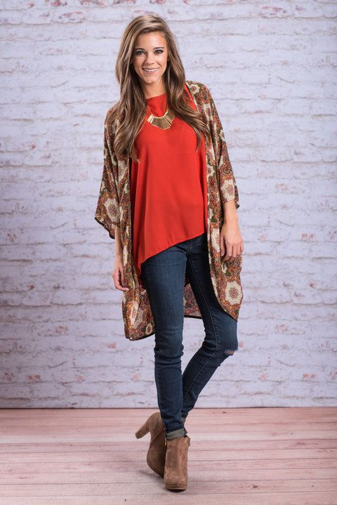 """""""Just Vibing Out Kimono, Olive"""" This kimono is giving us all sorts of good vibes! The boho print is so trendy and cute! #Newarrivals #shopthemint"""