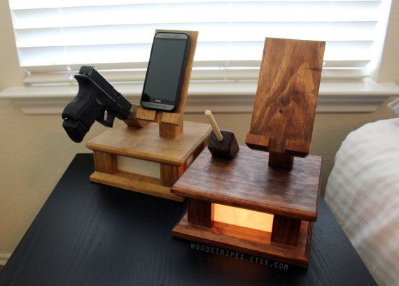3 In 1 Modern Wood Phone Docking Charging Station By