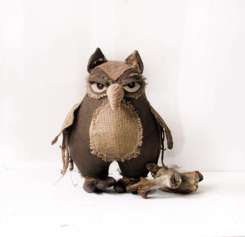 Owl,owl Decor, Handmade Owl, Home Decor , Ornament Owl ,forest, Woodland, Home  Decor, Burlap, Burlap Decor, Rustic Country, Style Home,.