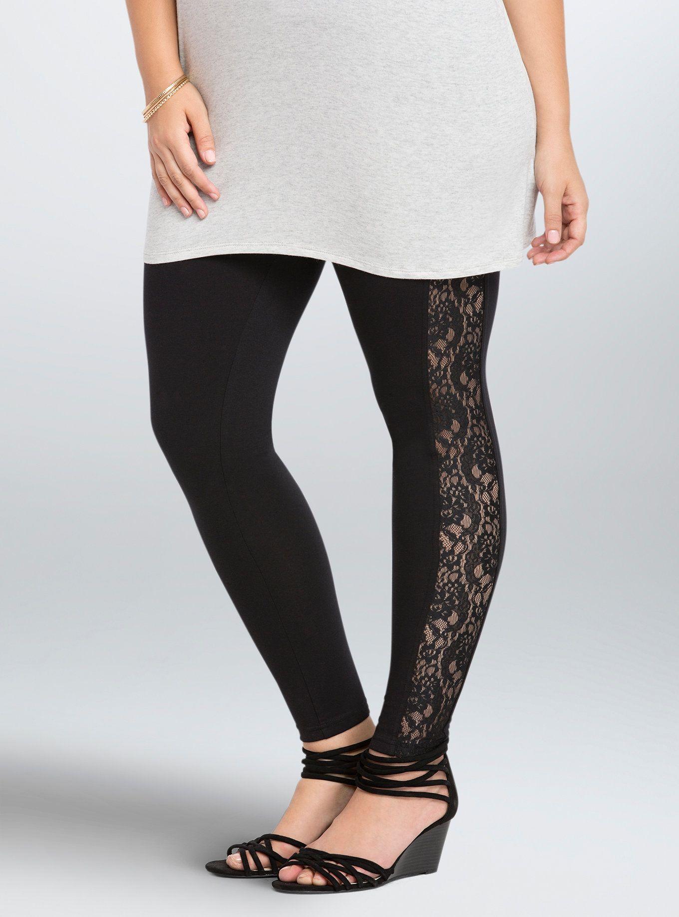 c17876181fde3 Lace Trim Full Length Leggings | Styles for Bodacious Babes | Plus ...