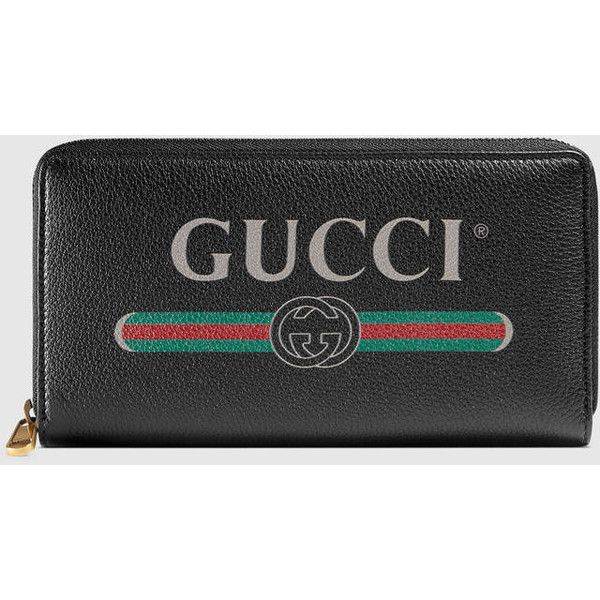 fd01e2f8528db7 Gucci Print leather zip around wallet Gucci (£585) via Polyvore featuring  bags, wallets, logo bags, print wallets, gucci wallet, retro leather bag  and ...