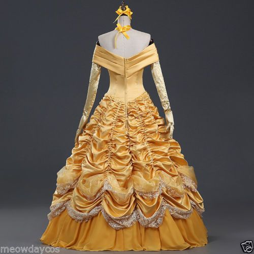 Belle Adult Costume Beauty and The Beast Dress Cloak Princess Prom Ball Gown