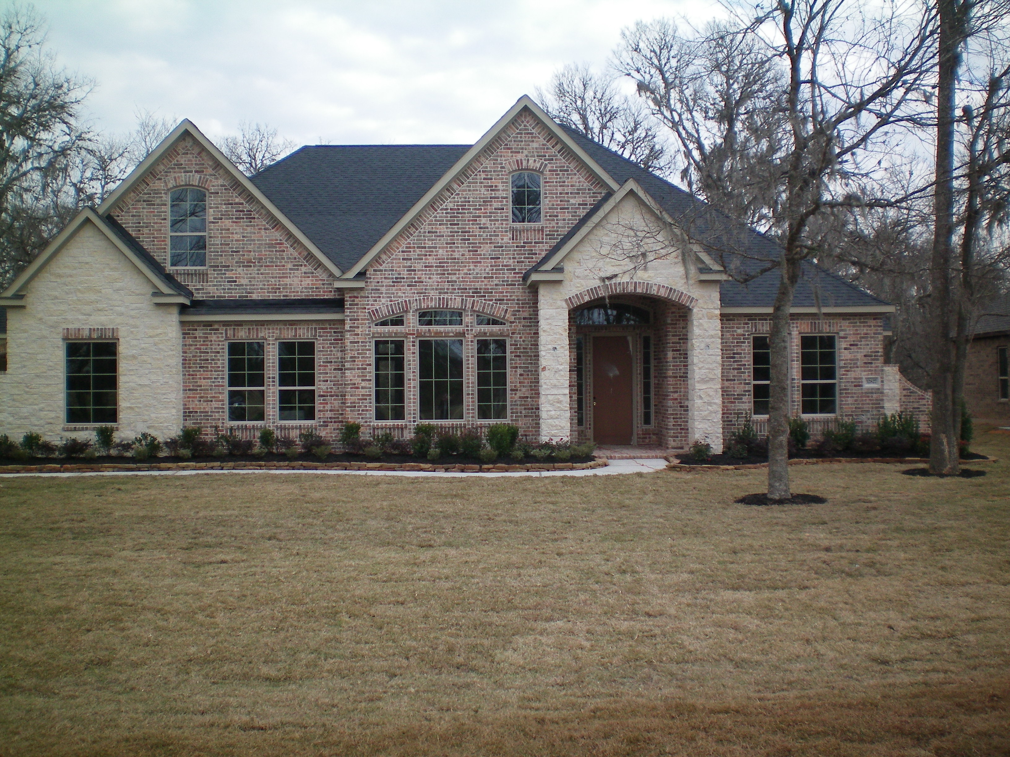 Front Elevation Antique : Rock and brick combinations another front elevation with