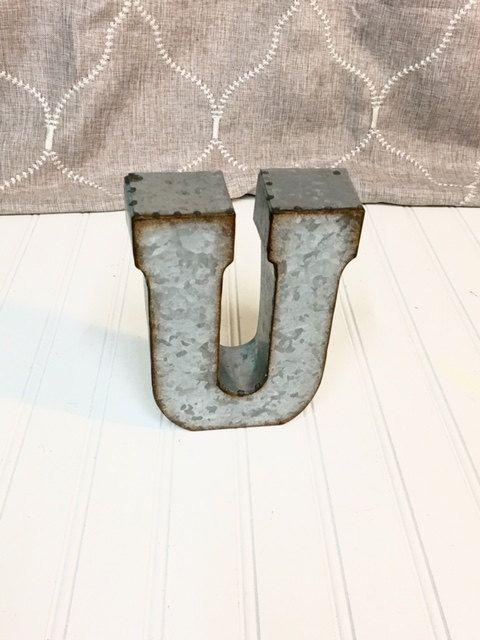Galvanized Letter U Metal Lettersmetal Letterletter U7 Inch Letterwall Letter