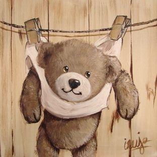 Tableaux peinture tableau peinture ours en peluche et for Tableau ourson chambre bebe