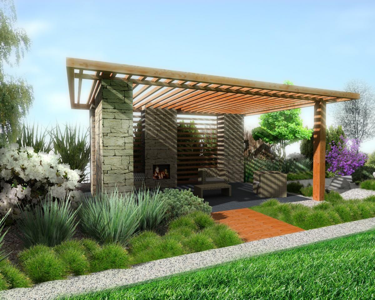 Beutiful Outdor Gazebo With Fireplace In Awesome Garden Plus Wooden Roof Design Then Brick Wll Decoration Then Gray Backyard Gazebo Patio Gazebo Modern Gazebo