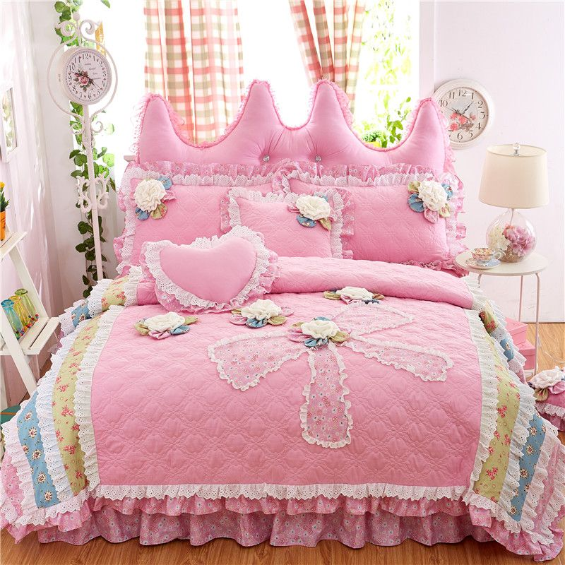 rose coton princesse style ensemble de literie 4 pcs dentelle volants housse de couette couvre. Black Bedroom Furniture Sets. Home Design Ideas