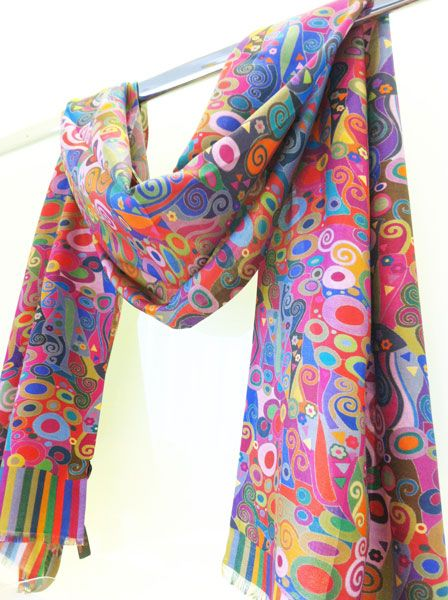 Klimt-inspired silk scarf $112