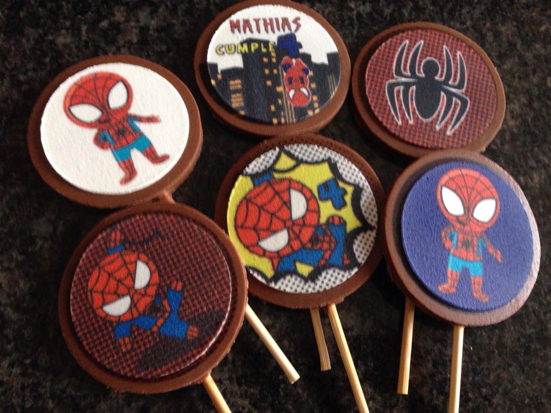 Chupetas de chocolate de mini Spiderman