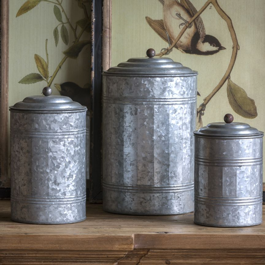 prodigious Park Design Canister Set Part - 5: Park Hill Tall Galvanized Canisters (Set) - ZE5047