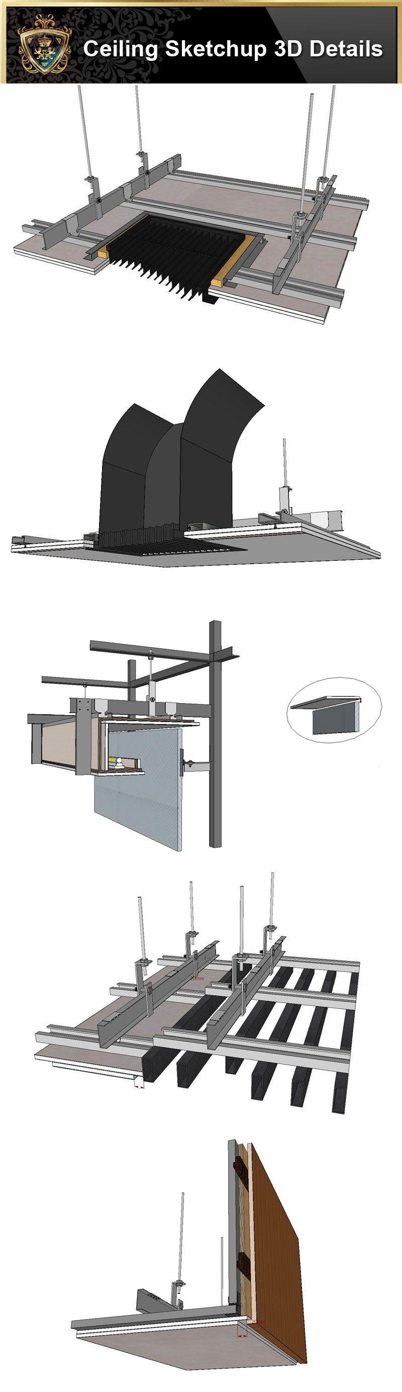 【Best 70 Types Ceiling Sketchup 3D Detail Models】Sketch