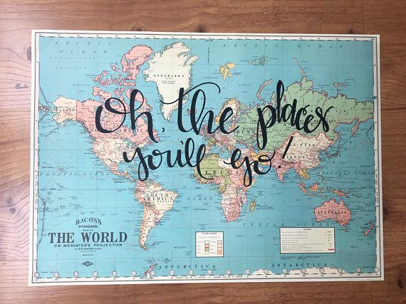 Oh the places youll go hand lettered world map travel quote oh the places youll go hand lettered world map travel quote map wall decor travel home decor lettered quote decor unique gift unique christmas gumiabroncs Choice Image