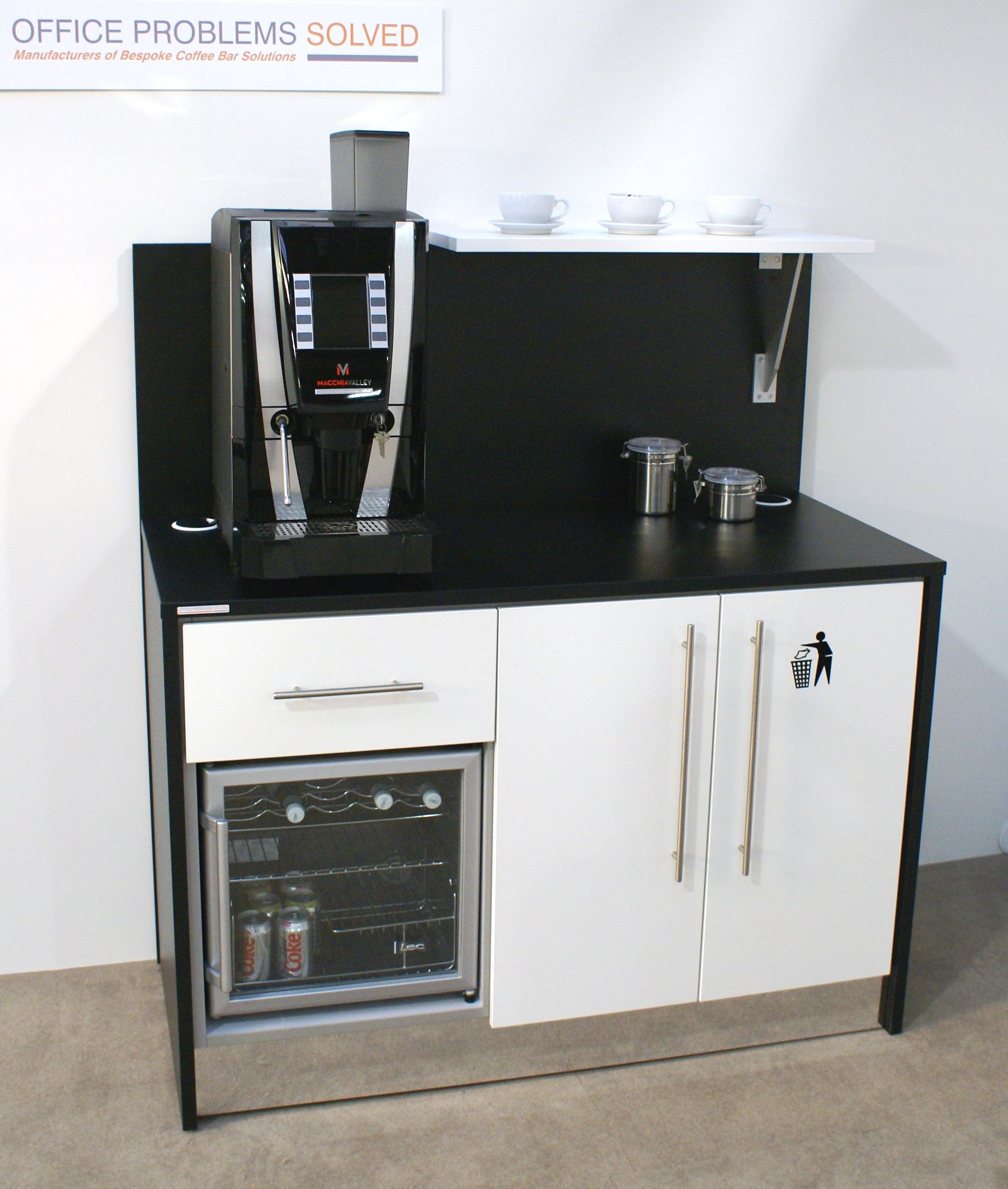 Office Coffee Bar Furniture: Mini Breakstation With Integrated Cooler And Storage
