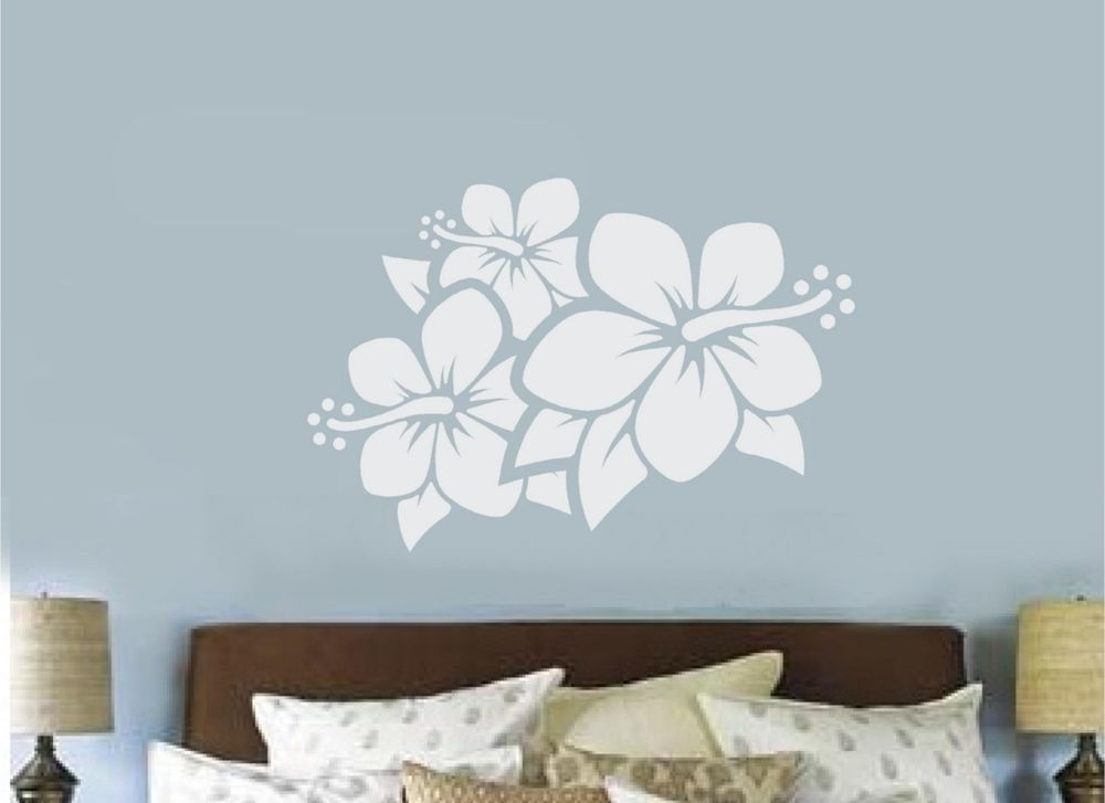Hibiscus Flower Vinyl Decal Wall Sticker Teen Bedroom