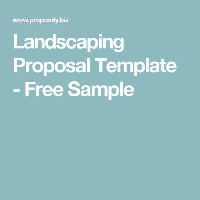 Landscaping Proposal Template  Free Sample  Landscaping Business