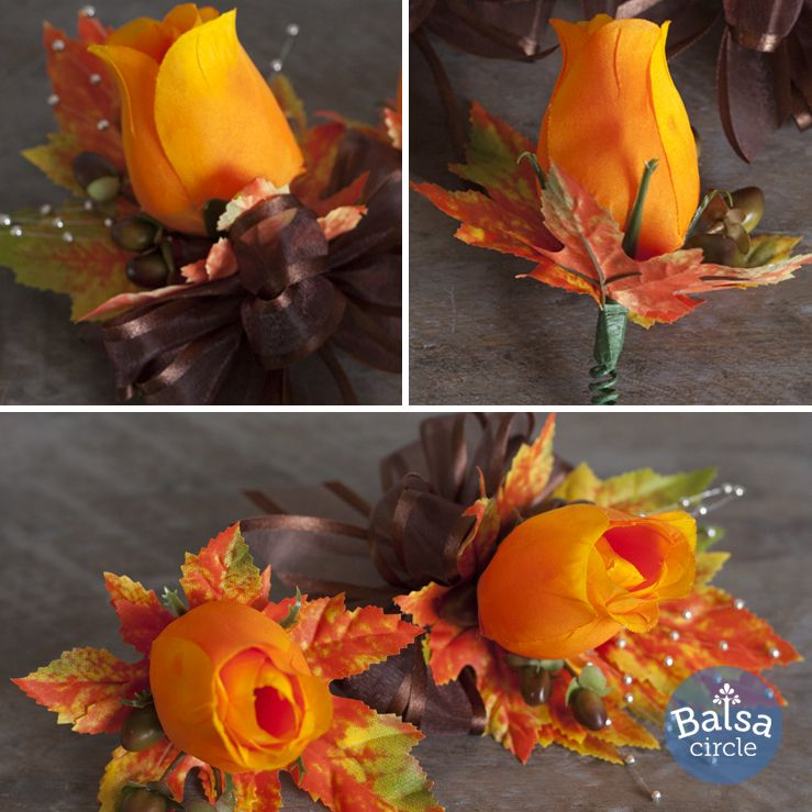 Fall Wedding Boutonniere Ideas: Orange Silk Rose Bud Corsages And Boutonnieres With Fall