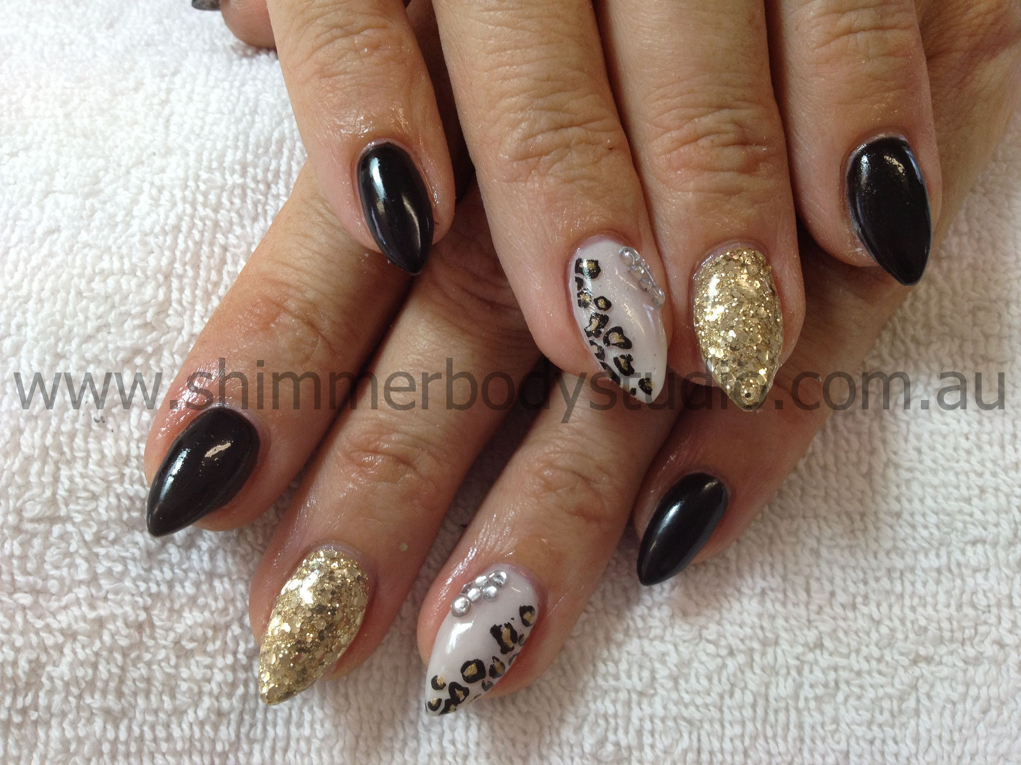 Gel nails, stiletto nails, black, gold, white nails, leopard print ...