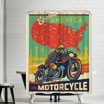 East Urban Home Explore America By Motorcycle Single Shower Curtain Shower Curtain Sets Striped Shower Curtains Curtains